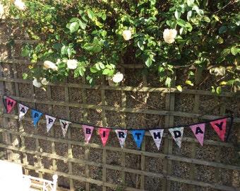 Happy Birthday Bunting/Garland/Banner/Flag, on Celebration Themed Fabrics