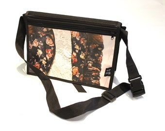 Bag shoulder strap means flower and cream