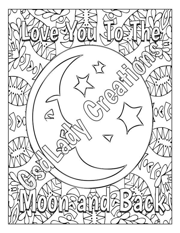 Love You To The Moon And Back Coloring Page Mandala Adult