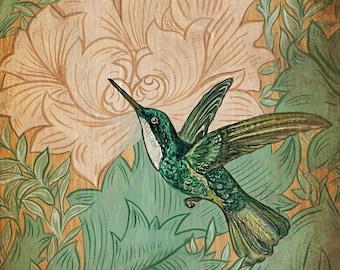 Original Painting 11x14 Art Nouveau Humming Bird Green Acrylic Canvas Home Decor