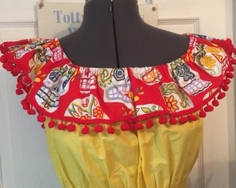 Sugarskull glitter red and yellow qypsy- 50s Inspired- Shirring body