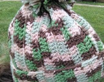 Bohemian Slouchy Camo Crochet Toboggan Skull cap Warm winter upscale beanie hat