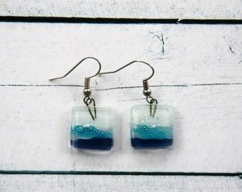 Fused glass earrings Dangle earrings Fused glass jewelry Fused glass drop earrings white turquoise blue A18