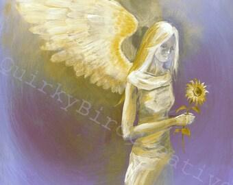 Sunflower angel healing gift artwork print of original signed painting