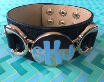 Monogrammed Leather Cuff Braclet