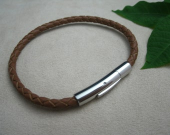 Leather Bracelet Braided Bracelet Stainless Steel Magnetic Clasp Saddle Braided Leather Women's Bracelet