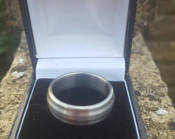 Titanium Wedding Band With Raised Centre