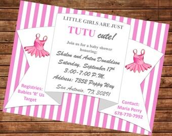 Tutu Cute Baby Shower Invitation, Baby Girl Invite, Tutu Cute Baby Shower, Tutu Themed Baby Shower, Tutu Cute, Printable Invite
