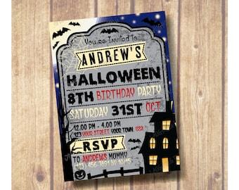 Kids Halloween Party Invitation; Kids Halloween Birthday Party Invite; Tombstone Invitation; Bat halloween invitation; Haunted house