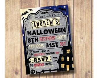 SALE!!! Kids Halloween Party Invitation; Kids Halloween Birthday Party Invite; Tombstone Invitation; Bat halloween invitation; Haunted house