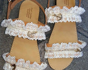 Handmade sandals/Leather sandals/Lace sandals/Luxurious sandals/Wedding sandals