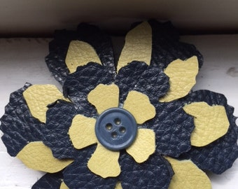 Leather Flower Pins