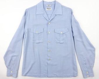 1950s Wimbledon Light Blue Rayon Shirt Gabardine - Very Good