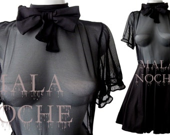 Black short dress, Dress mesh, Goth dress, Dark dress, Witch dress, Vampire dress, Bow dress