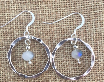 Sterling Silver Circle Pendant Earrings