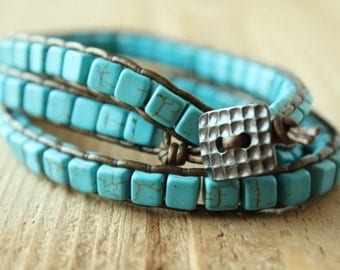 Turquoise and Leather Wrap Bracelet/Boho Wrap/Gemstone Wrap/Stylist Boho Wrap Bracelet