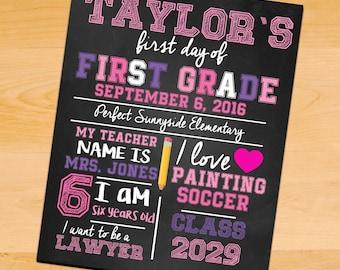 First Day of School Sign - 1st Day of School Sign - Back to School Chalkboard - Any Grade - Chalkboard First Day of School Printable