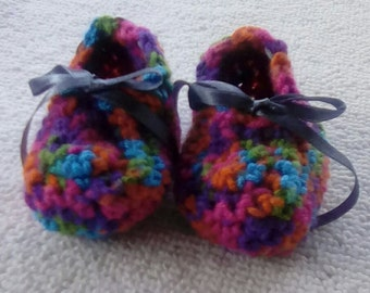 Crocheted Variegated Babby Slippers