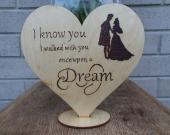 Rustic wedding cake topper Disney Sleeping Beauty Silhouette, Unique Wedding gift, Country wedding, Personalized wood heart, PYROGRAPHY
