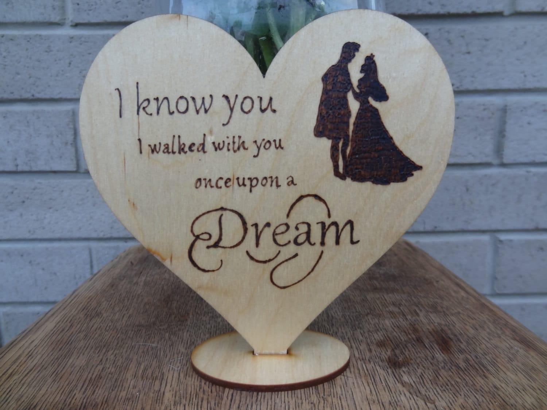 Rustic Wedding Cake Topper Disney Sleeping Beauty Silhouette