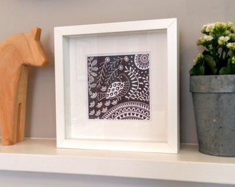 Florence Dove in grey, small framed scandinavian folk art print