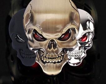 Skull Emblem - Self Sticking - Alloy Metal