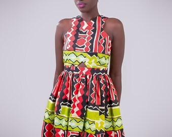 Short African print dress, short Ankara dress, short dress, African dress
