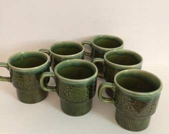 Mid century forest green stacking mugs, set of 6, made in Japan