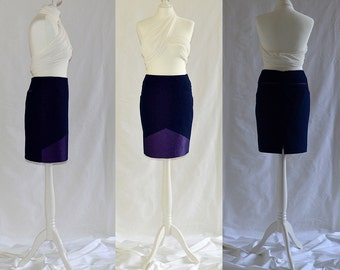 SALE Purple denim, pencil skirt with back pockets Size UK 10 / US 6