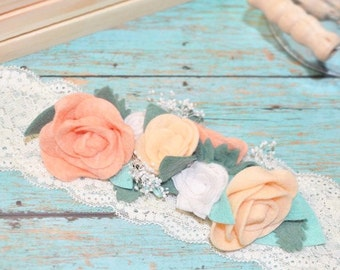Pink peach and white felt flower and roses on ivory lace headband