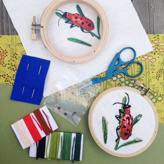 Eliot The Asparagus Beetle Embroidery Kit  Embroidery Art