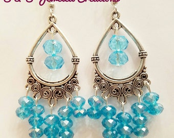 Azure Blue Chandelier Earrings