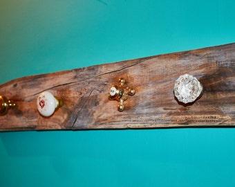 Reclaimed Wood Coat Rack with Vintage Knobs