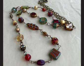 The EVE COLLECTION- Handmade-Mixed Beads-Czech beads-Vintage-Jewel Tones-Necklace-Multicolor