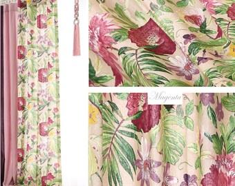 Floral Linen Curtains, Vertical Color block Curtain Panels, Window Treatments, Floral Linen Drapes, Custom Drapes, Custom Linen Curtains