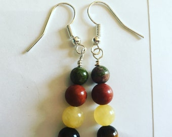 Handmade upcycled beaded drop earrings