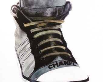 Watercolour Chanel Sneaker Print, Ready to Frame, Wall Art, Bedroom Art, Sneaker