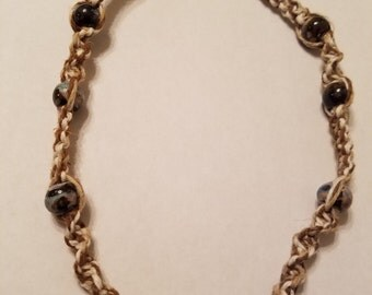 Brown/White/Tan Hemp Necklace with Blue/Brown/Black Glass Beads