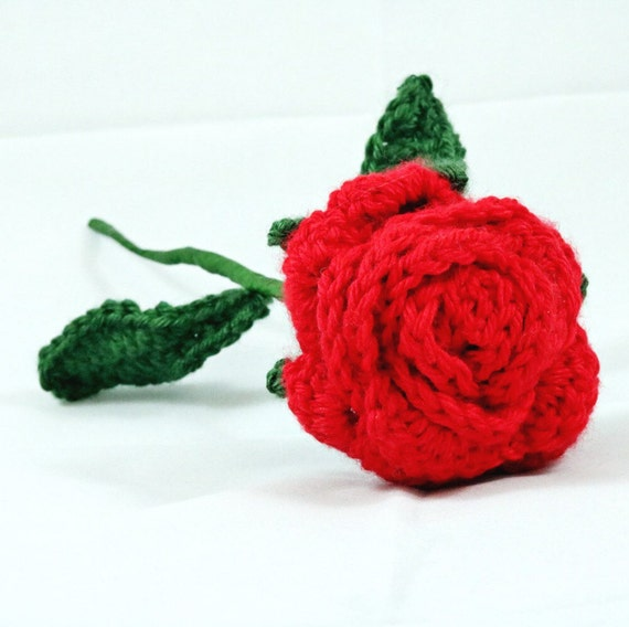 Red rose flower with adjustable stems and leaves