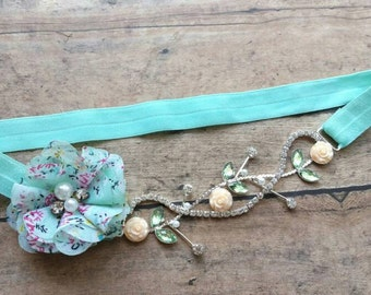 Mint and peach vintage headband - princess headband - vintage baby headband - newborn headband - girl headband - baby shower gift