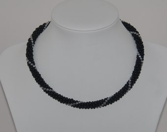 Black Onyx (MAT) Necklace with Hematite Silver