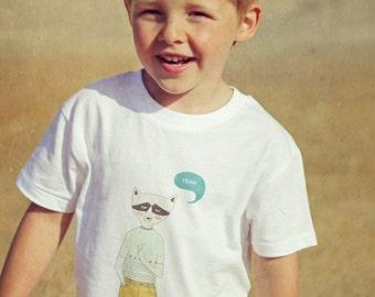 "T-shirt organic boy ""Raccoon"" - spring sale"