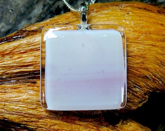 Pink Sky: Fused glass pendant and earrings