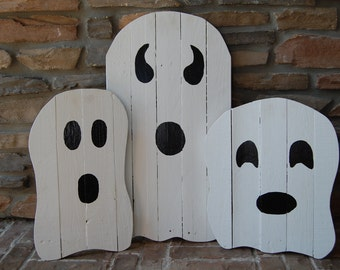 Single Halloween Ghost Home Yard Decorations made from reclaimed wood Fall Decor