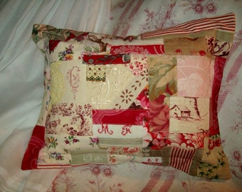 Cushion made with fabrics, laces, old embroideries