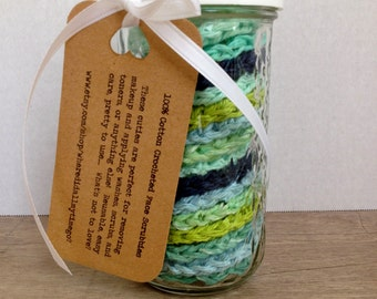 FIFTEEN 100% Cotton Face Scrubbies in Sea Glass