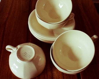 set of 5 cups and saucers for tea / chocolate glazed SALINE ( France collection Japan )