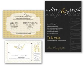 Black and Gold Modern Custom Wedding Invitation Set