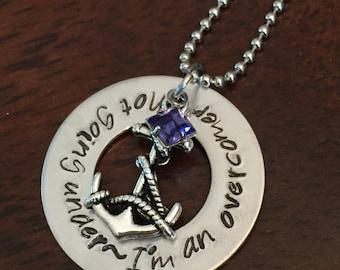 Coastal jewelry, hand stamped beach jewelry, anchor necklace, Swarovski crystal birthstone necklace, faith jewelry