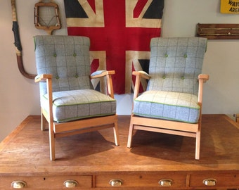 Pair of Vintage Armchairs - Sanded & Re-waxed, Professional Upholstered